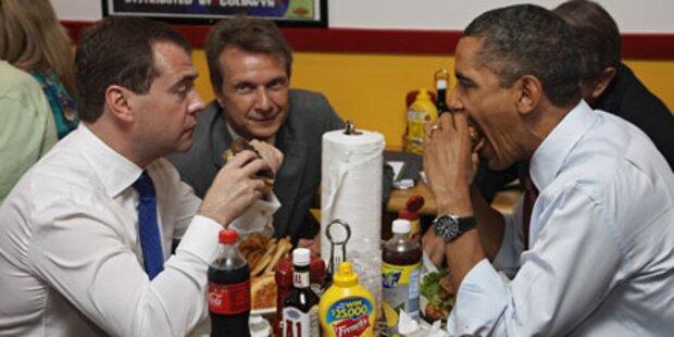 Obama und Medwedew teilen sich Pommes