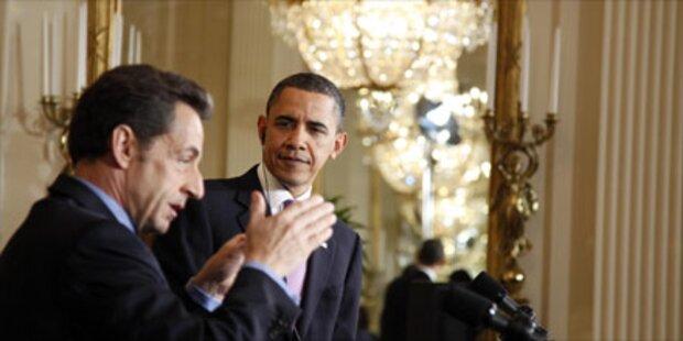Die Sarkozys zum Dinner bei den Obamas