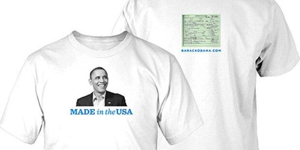 Obamas Geburtsurkunde auf T-Shirts