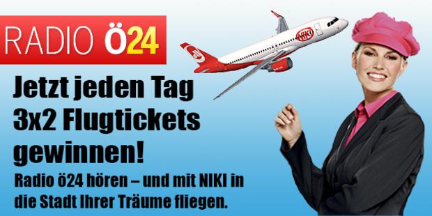Jeden Tag 3x2 Flugtickets – mit Radio ö24 & NIKI