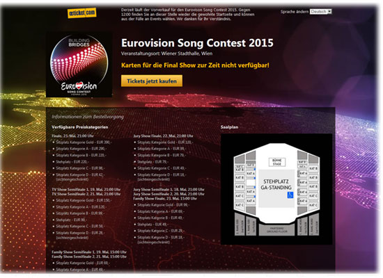 oeticket überlastet: Song Contest