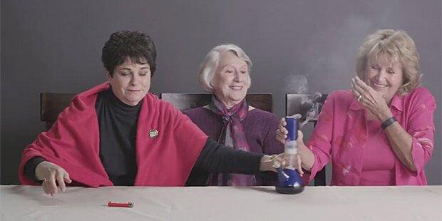 Omas rauchen zum ersten Mal Cannabis