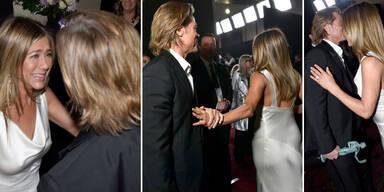 Händchen halten, grinsen: Aniston & Pitt beim Turteln erwischt