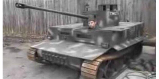 Student fährt mit selbstgebautem Panzer zur Uni