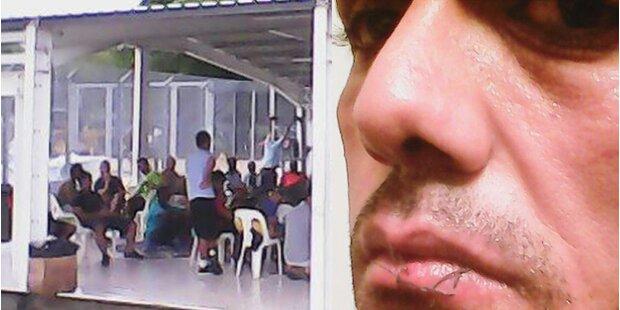 Asylbewerber nähen sich die Lippen zu