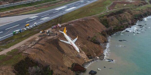 Passagier-Jet kam von der Piste ab