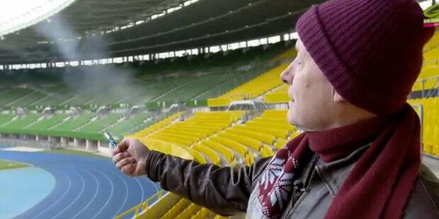 Peter Pilz zündet Rakete im Stadion