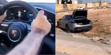 Mit 190 km/h: Porsche Taycan in Kreisverkehr geschrottet