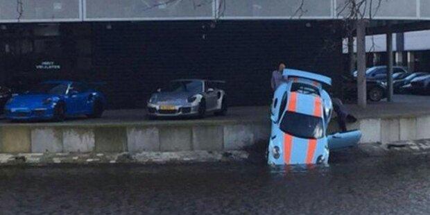 250.000-Euro-Porsche versinkt im Kanal