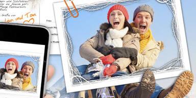 Postkarten-App für Skifahrer