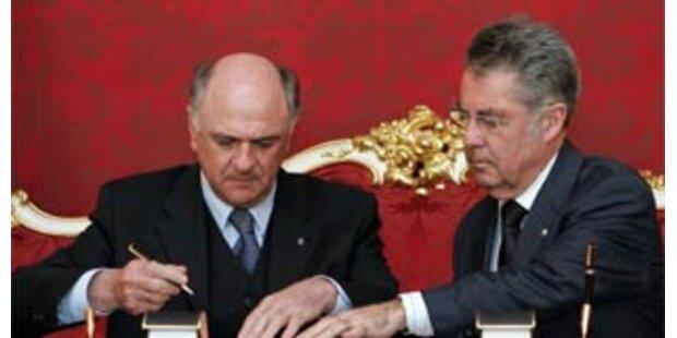 Pröll von Bundespräsident Fischer angelobt