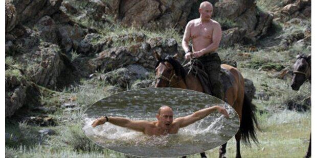 Putin oben ohne ganz naturverbunden