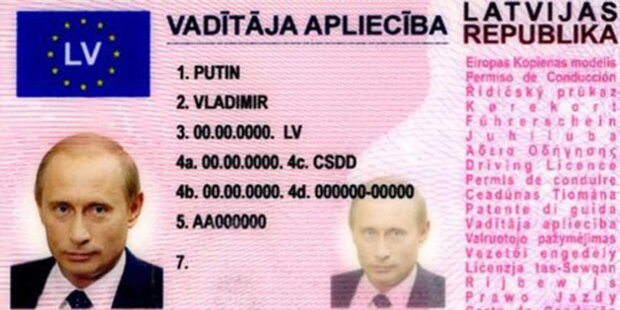 Mann mit Putin-Führerschein unterwegs