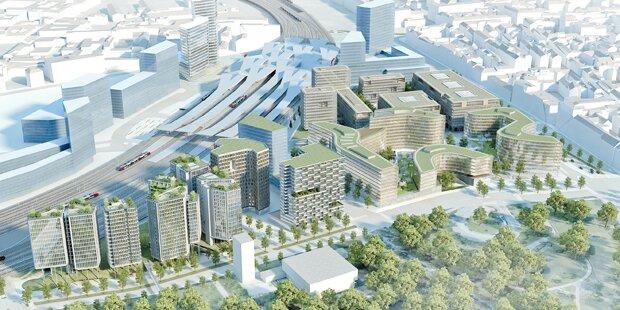 Der Hauptbahnhof und die Seestadt