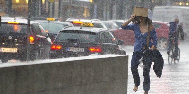 Gewitter mit Starkregen überrollen Österreich