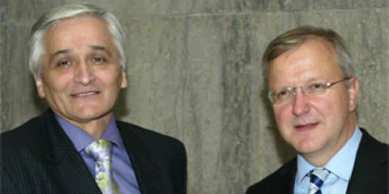 Bosnischer Premier Nikola Spiric (l.), Erweiterungskommissar Olli Rehn (r.)
