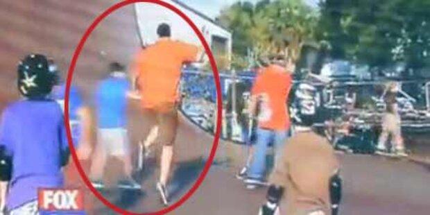 Dicker Reporter checkt Bub von Skateboard