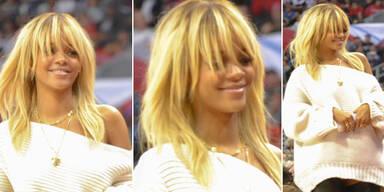 Rihanna mit blondem Stufenschnitt