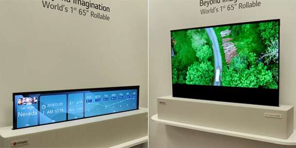 ces 2019 aufrollbarer oled fernseher und neue roboter. Black Bedroom Furniture Sets. Home Design Ideas
