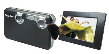 Kompakte 3D-Digicam mit 3D-Bilderrahmen