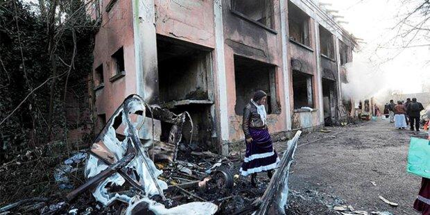 Italiener setzten Roma-Lager in Brand