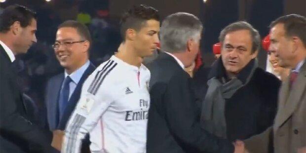 Ronaldo ignoriert Michel Platini