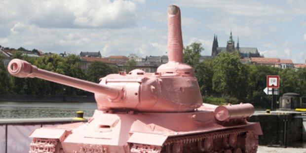 Rosa Panzer schwimmt auf der Moldau