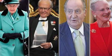 Carl Gustaf, Queen Elizabeth II, Juan Carlos, Margrethe II von Dänemark