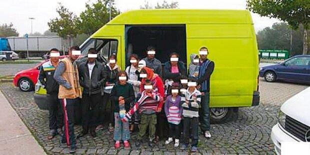 17 Rumänen in Kleinbus gequetscht