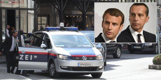 Bei Macron-Besuch: Autofahrer beißt Polizisten