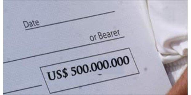 Scheck über 500 Mio Dollar beschlagnahmt