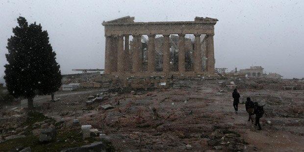 Griechenland: Schnee auf der Akropolis