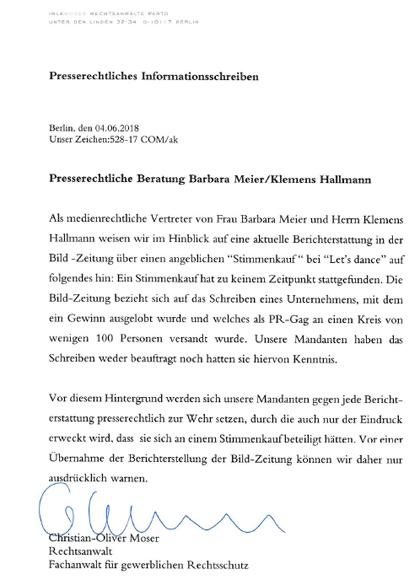 Anwaltsschreiben Hallmann/Meyer 4.6.18