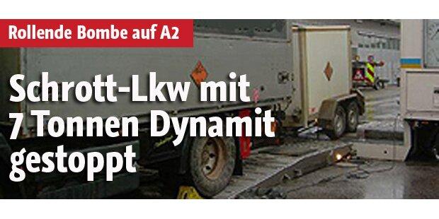 Schrott-Lkw mit 7 t Sprengstoff gestoppt