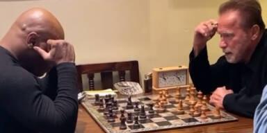 Arnold Schwarzenegger und Mike Tyson beim Schach