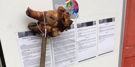Unbekannte platzierten Schweinskopf vor Tiroler Flüchtlingsheim