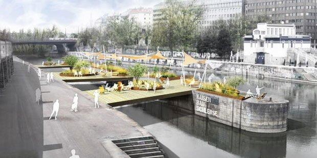 Schwimmende Gärten am Donaukanal