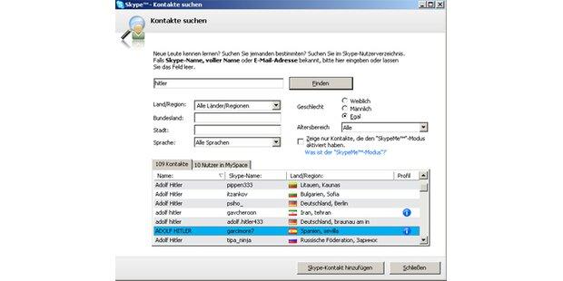 124 Skype-User als Hitler registriert