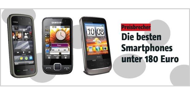 Super Touchscreen-Handys unter 180 Euro