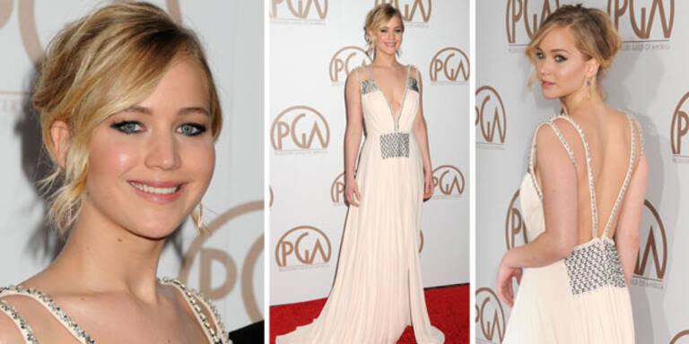 Griechische Göttin: Jennifer Lawrence in Creme