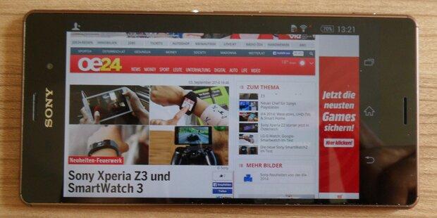 Neues Sony Xperia Z3 im oe24.at-Test