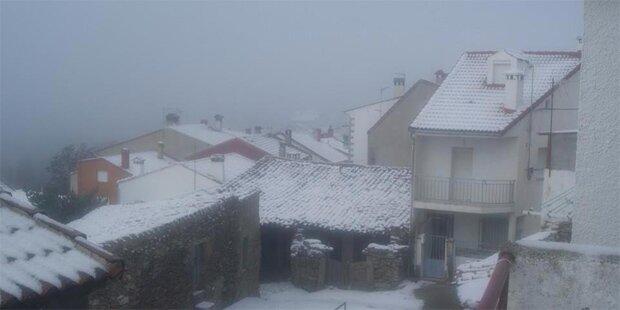 Schnee und Kälte in Spanien
