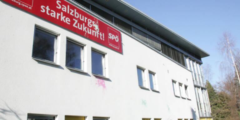 Farbbeutel-Attacke auf die Salzburger SPÖ-Parteizentrale.(c) Franz Neumayr