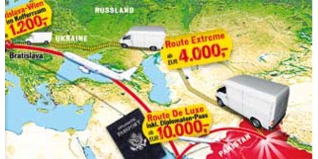 Die Routen der Menschen-Schmuggler