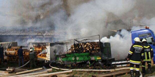 Flammen vernichten Maschinenhalle