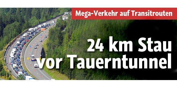 Wieder 24 km Stau vor Tauerntunnel