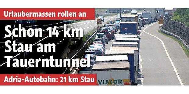 Schon 14 Kilometer Stau am Tauerntunnel