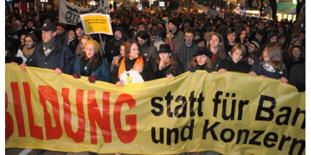 Nur 8.000 bei Wiener Uni-Demo