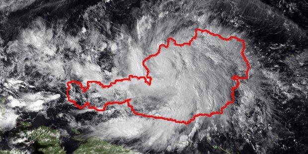 Dieser Taifun ist so groß wie Österreich
