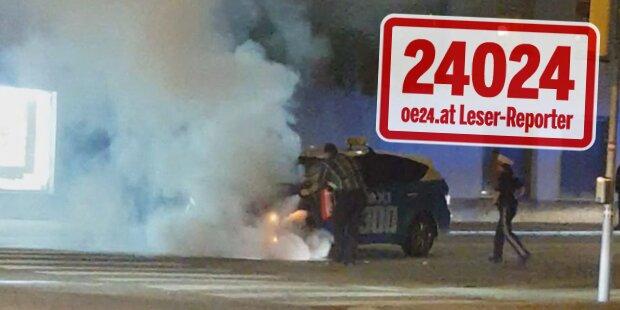 Taxi brannte auf Triester Straße aus